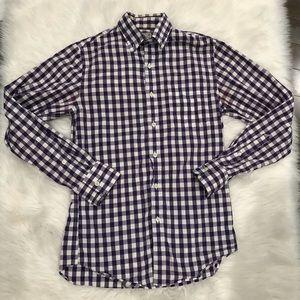 J. Crew Plaid Purple Button Down Woven Shirt S